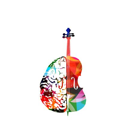 Colorful music promotional poster with violoncello and human brain isolated vector illustration. Artistic abstract background for composing,music show, live concert events, party flyer design template