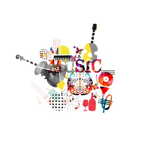 Affiche promotionnelle de musique colorée avec illustration vectorielle d'instruments de musique isolés. Abstrait artistique pour spectacle de musique, événements de concert en direct, modèle de conception de flyer de fête