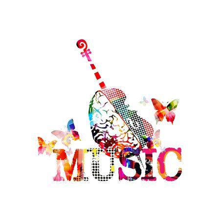 Cartel promocional de música colorida con violoncello y cerebro humano aislado ilustración vectorial. Fondo abstracto artístico para componer, espectáculo de música, eventos de conciertos en vivo, plantilla de diseño de volante de fiesta