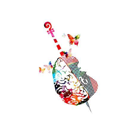 Buntes Musikwerbeplakat mit Violoncello und menschlichem Gehirn lokalisierte Vektorillustration. Künstlerischer abstrakter Hintergrund zum Komponieren, Musikshow, Live-Konzertveranstaltungen, Party-Flyer-Design-Vorlage