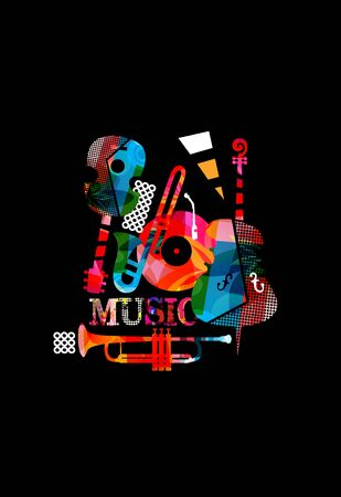 Music promotional poster with colorful instruments vector illustration. Artistic music background, music show, live concert events, party flyer design template