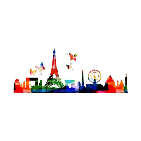 Colorful cityscape view of Paris on white