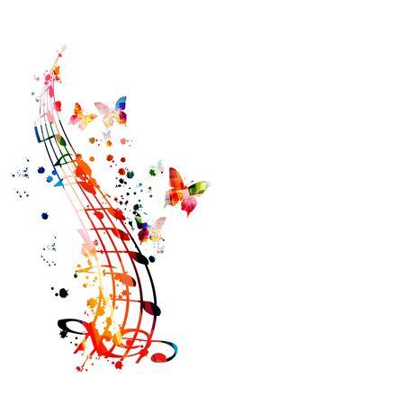 Cartel promocional de música colorida con G-clef y notas musicales aisladas ilustración vectorial. Fondo artístico abstracto con personal de música para espectáculos de música, eventos de conciertos en vivo, plantilla de volante de fiesta Ilustración de vector