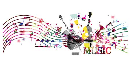 Colorful music promotional poster with music instruments and notes isolated vector illustration. Artistic abstract background for music show, live concert events, party flyer design template Ilustración de vector