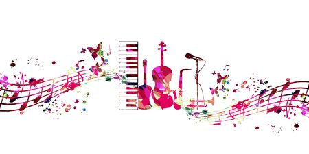 Colorful music promotional poster with music instruments and notes isolated vector illustration. Artistic abstract background for live concert events, music show and festival, party flyer design