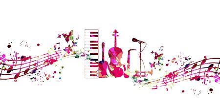 Buntes Musik-Werbeplakat mit Musikinstrumenten und Anmerkungen lokalisierte Vektorillustration. Künstlerischer abstrakter Hintergrund für Live-Konzertveranstaltungen, Musikshow und Festival, Party-Flyer-Design