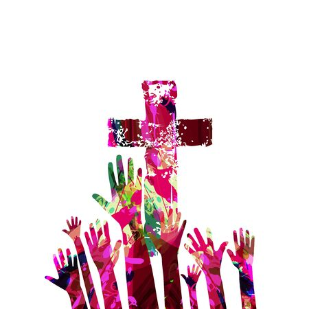Colorful christian cross with human hands isolated vector illustration. Religion themed background. Design for Christianity, church charity, help and support, prayer and care Illustration