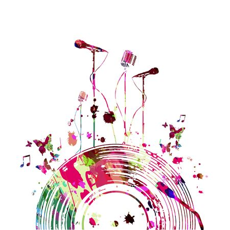 Colorful music promotional poster with microphones and vinyl record disc isolated vector illustration. Artistic abstract background for live concert events, music shows and festivals, party flyer Illustration