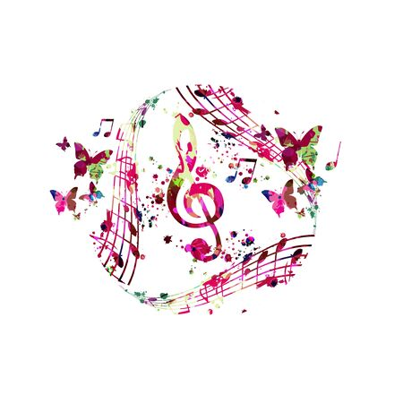 Colorful music promotional poster with G-clef and music notes isolated vector illustration. Artistic abstract background with music staff for live concert events, music show and festival, party flyer