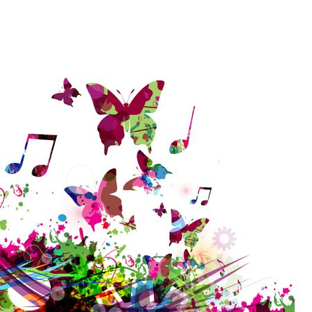 Colorful music promotional poster with butterflies and music notes isolated vector illustration. Artistic abstract musical background