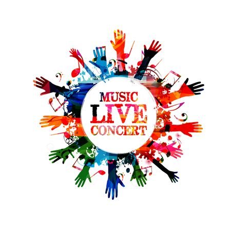 Music banner with colorful music notes and hands vector illustration design. Artistic music festival poster, live concert events, party flyer, music notes signs and symbols with crowd of people