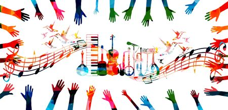 Colorful music promotional poster with hands, music instruments and notes isolated vector illustration. Artistic background for live concert events, music show and festival, party flyer design