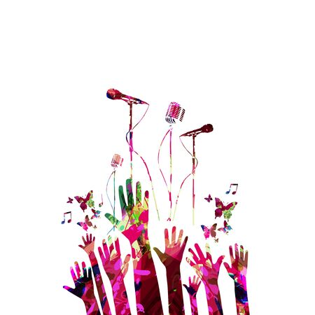 Music background with colorful microphones and hands vector illustration design. Artistic music festival poster, live concert events, party flyer, music notes signs and symbols with crowd of people