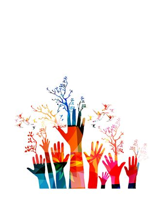 Colorful human hands raised with trees isolated vector illustration. Charity and help, volunteerism, community support and social care concepts