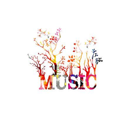 Buntes Musik-Werbeplakat mit Musikinschrift und Bäumen isolierte Vektorillustration. Künstlerischer abstrakter Hintergrund für Musikshows und Festivals, Live-Konzertveranstaltungen, Party-Flyer-Vorlage Vektorgrafik