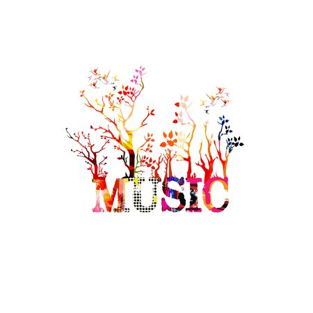 Colorful music promotional poster with music inscription and trees isolated vector illustration. Artistic abstract background for music shows and festivals, live concert events, party flyer template