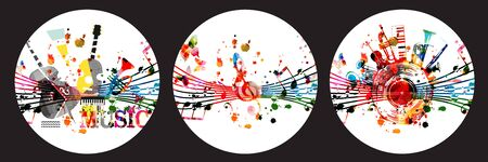 Colorful music promotional posters with music instruments and notes for live concert events, music shows and festivals, party flyer design, vector illustration