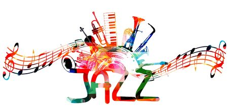 Colorful jazz music promotional poster with music instruments and notes isolated vector illustration. Artistic abstract background for live concert events, music show and festivals, party flyer design