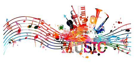 Colorful music promotional poster with music instruments and notes isolated vector illustration. Artistic abstract background for live concert events, music show and festival, party flyer design Illustration