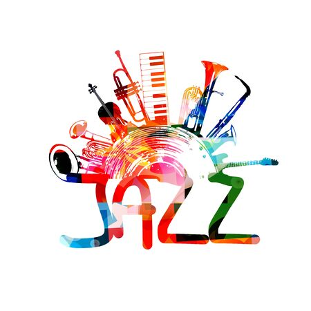 Jazz music background with colorful music instruments and vinyl record vector illustration. Music festival poster with double bell euphonium, violoncello, trumpet, piano, euphonium, sax and guitar 스톡 콘텐츠 - 148356170