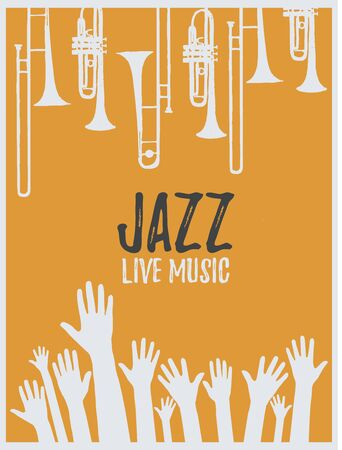 Music promotional poster with musical instruments and hands vector illustration. Artistic background for live concert events and festivals, music show, party flyer design with trumpet and trombone Illustration