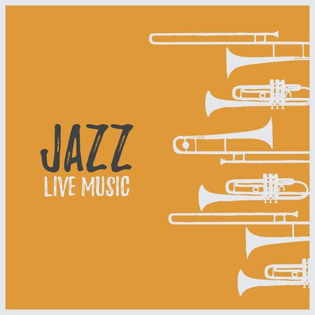 Music promotional poster with musical instruments vector illustration. Artistic background for live concert events and festivals, music show, party flyer design template with trumpet and trombone Illustration