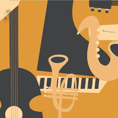 Music promotional poster with musical instruments vector illustration. Artistic background for live concert events and festivals, music show, party flyer with saxophone, trumpet, guitar and piano