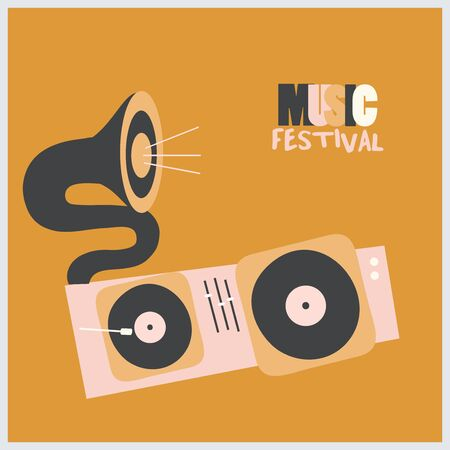 Music promotional poster with vinyl turntable and gramophone vector illustration. Artistic background for live concert events and festivals, music show, party flyer design template Illustration