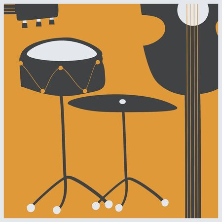 Music promotional poster with musical instruments vector illustration. Artistic background for live concert events and festivals, music show, party flyer design template with guitar, drum and cymbal Illustration