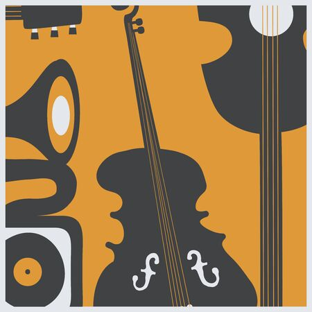 Music promotional poster with musical instruments vector illustration. Artistic background for live concert events and festivals, music show, party flyer with guitar, violoncello and gramophone