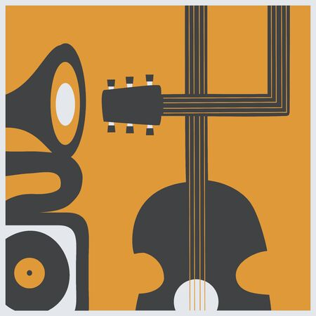 Music promotional poster with guitar and gramophone vector illustration. Artistic background for live concert events and festivals, music show, party flyer design template
