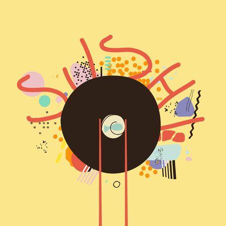 Chopsticks holding sushi roll, Japanese sushi restaurant, seafood menu design vector illustration. Asian food promotional poster