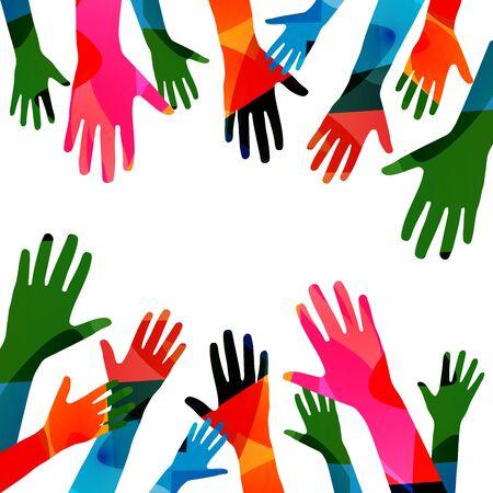 Des mains humaines colorées ont soulevé une illustration vectorielle isolée. Concepts de charité et d'aide, de bénévolat, de soins sociaux et de soutien communautaire