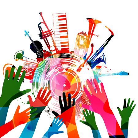 Colorful music promotional poster with hands, music instruments and vinyl record disc isolated vector illustration. Artistic background for live concert events, music shows, festivals, party flyer
