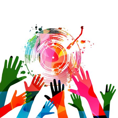Colorful music promotional poster with hands and vinyl record disc isolated vector illustration. Artistic background for concerts, music festivals, shows, events, party flyer