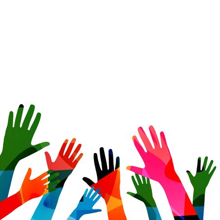 Colorful human hands raised isolated vector illustration. Charity and help, volunteerism, social care and community support concepts Illustration