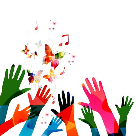 Music background with colorful music notes and hands vector illustration design. Artistic music festival poster, live concert events, party flyer, music notes signs and symbols with butterflies