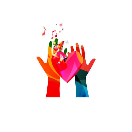 Colorful human hands raised and isolated vector illustration. Charity and help, volunteerism, social care and community support concepts  イラスト・ベクター素材