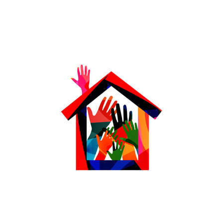 Home, family concept, house insurance, property protection vector illustration. Colorful hands building a house Illustration