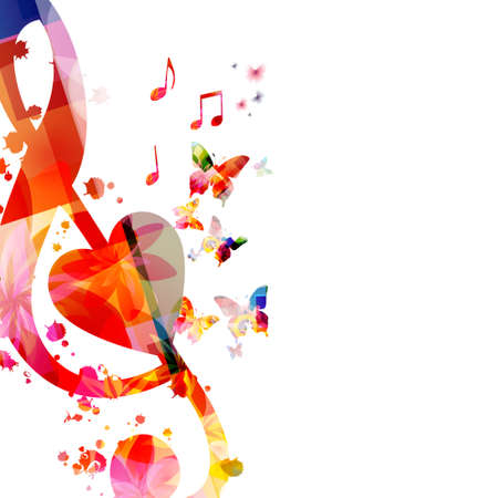 Colorful music promotional poster with G-clef and musical notes isolated vector illustration. Artistic background with musical symbols for music festivals and shows, live concert events, party flyer