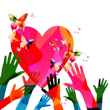 Colorful human hands raised and isolated vector illustration. Charity and help, volunteerism, social care and community support concepts Illustration