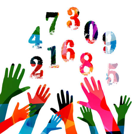 Education and learning concept. Colorful hands raised with numbers vector illustration. School and studying, learning mathematcs