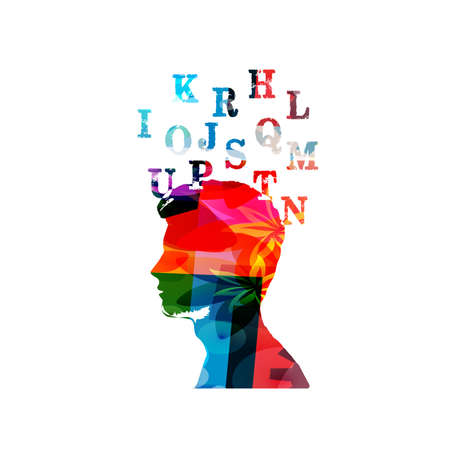 Education and learning concept. Colorful human head with alphabet letters vector illustration. School and studying, creativity and inspiration design