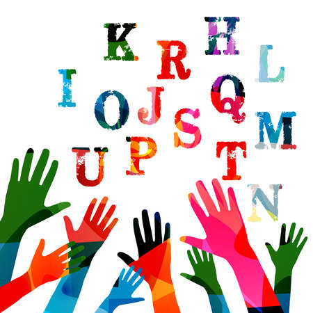 Education and learning concept. Colorful hands raised with alphabet letters vector illustration. School and studying, creativity and inspiration design Illustration