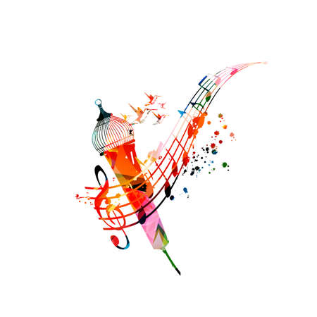Colorful music promotional poster with music notes and microphone isolated vector illustration. Artistic abstract background for live concert events, music shows and festivals, party flyer Illustration