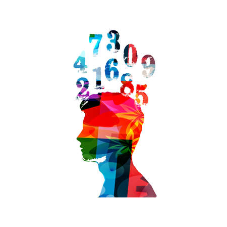 Education and learning concept. Colorful human head with numbers vector illustration. School and studying, learning mathematcs