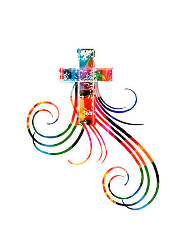 Colorful christian cross with swirls isolated vector illustration. Religion themed background. Design for Christianity, prayer and care, church charity, help and support