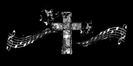Christian cross with music notes vector illustration. Religion themed background. Design for gospel church music, choir singing, concert, festival, Christianity, prayer Illustration