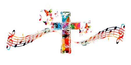 Colorful christian cross with music notes isolated vector illustration. Religion themed background. Design for gospel church music, choir singing, concert, festival, Christianity, prayer