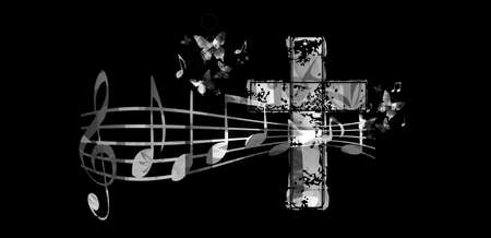 Christian cross with music notes vector illustration. Religion themed background. Design for gospel church music, choir singing, concert, festival, Christianity, prayer